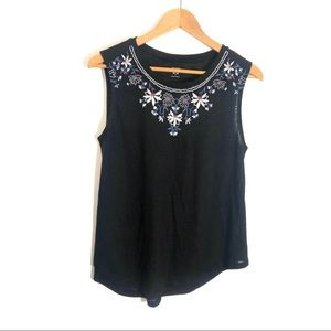 OLD NAVY Medium Black Embroidered Sleeveless Top